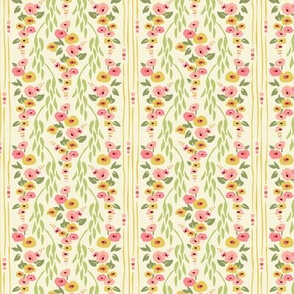 Hollyhock Vine Wallpaper Cream