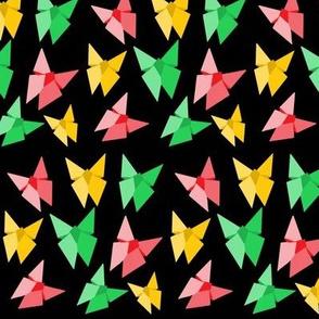 origami butterflies on black