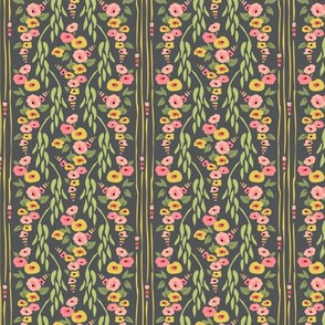 Hollyhock Vine Wallpaper Gray