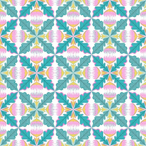 Floral ornament tile pink, yellow, green