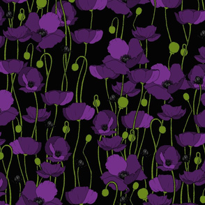 Purple poppy repeat black - medium