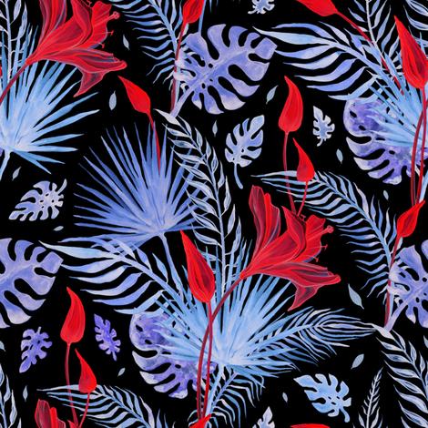 Exotic Tropic dark fabric by katyau on Spoonflower - custom fabric