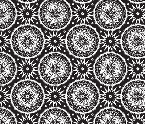 Black and white mandala pattern fabric by ybt on Spoonflower - custom fabric