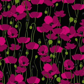 Magenta poppy repeat black - medium