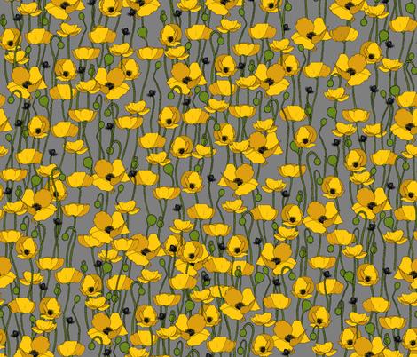 Mustard poppy repeat grey - medium fabric by coppercatkin on Spoonflower - custom fabric