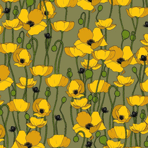 Mustard poppy repeat moss - medium