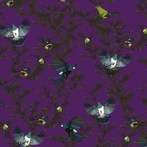 Bird repeat purple - large