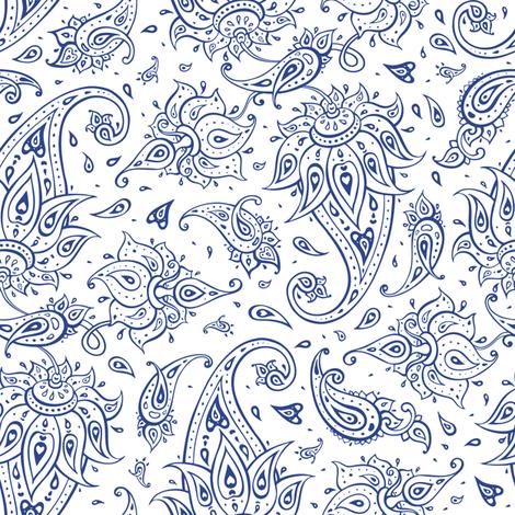 Paisley indigo blue fabric by katyau on Spoonflower - custom fabric