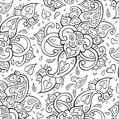 Paisley, Black and white  fabric by katyau on Spoonflower - custom fabric