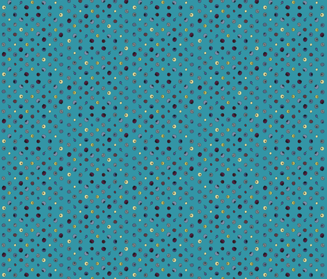 Polka grid bright turquoise fabric by coppercatkin on Spoonflower - custom fabric