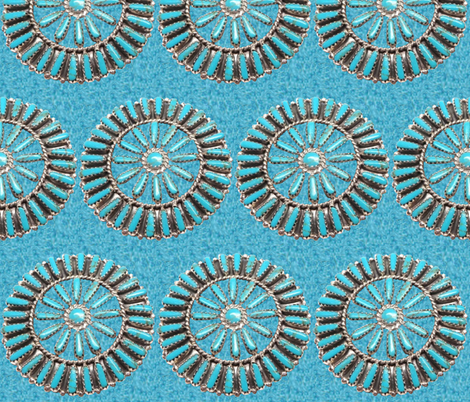 Native American Circles on Turquoise fabric by fabric_is_my_name on Spoonflower - custom fabric