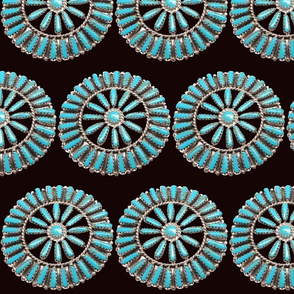 Native American Turquoise Circles on Black