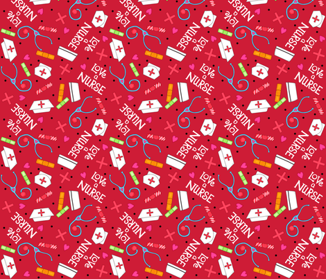 Love a Nurse Red White fabric by phyllisdobbs on Spoonflower - custom fabric