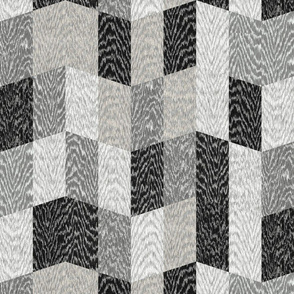 Cerused Wood Chevron Large Black Grey