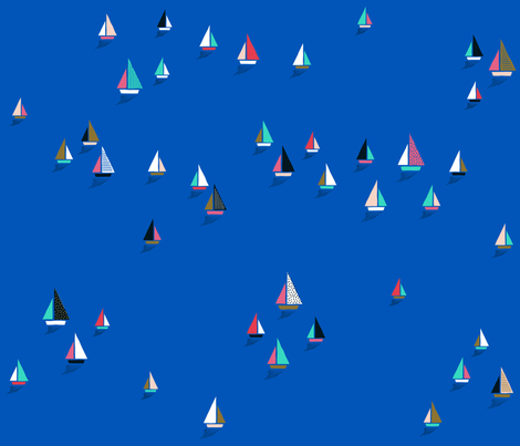 Sail Boats bright blue fabric by lisa_herse on Spoonflower - custom fabric