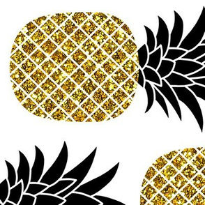 faux gold glitter pineapples - large