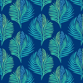 Palm Leaves and Berries Blue Background