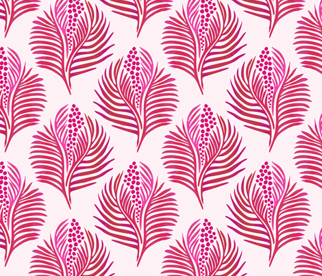 Palm Leaves and Berries Red fabric by agnessomogyi on Spoonflower - custom fabric