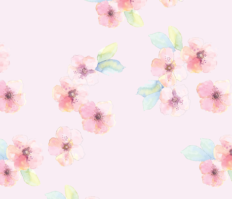Cherryblossoms pink fabric by anines_atelier on Spoonflower - custom fabric