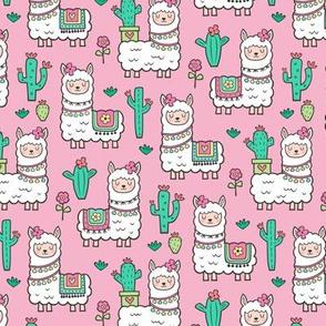 llamas  Alpaca Cactus & Flowers on Pink Smaller 2 inch