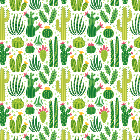 Cacti summer. Small scale fabric by magicforestory on Spoonflower - custom fabric