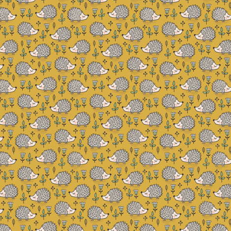 Hedgehog with Leaves and Flowers on Mustard Yellow Tiny Small fabric by caja_design on Spoonflower - custom fabric