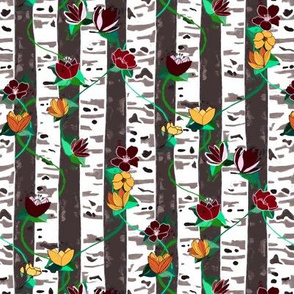 Birch Trees And Floral Vines On Grey - Small