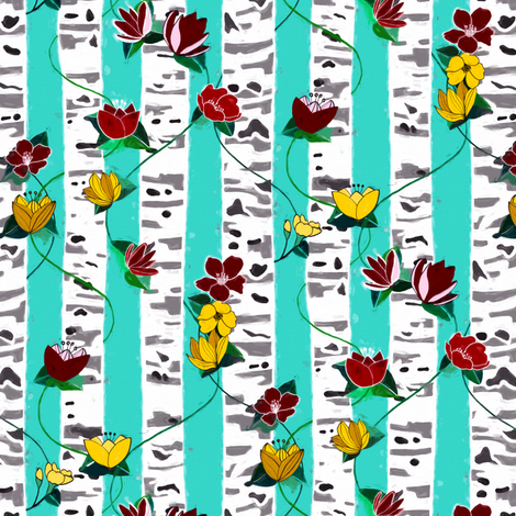 Birch Trees And Floral Vines On Aqua - Small fabric by tigatiga on Spoonflower - custom fabric