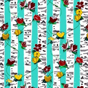 Birch Trees And Floral Vines On Aqua - Small