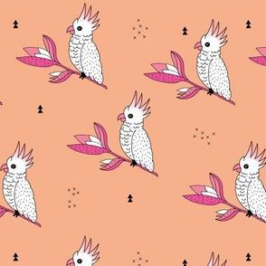 Sweet cockatoo jungle garden branch apricot pink girls