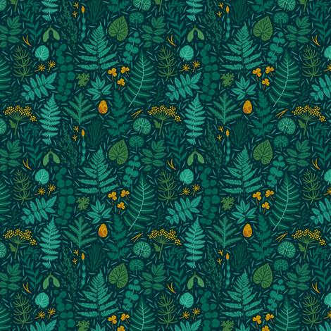 Emetald forest. Small scale fabric by magicforestory on Spoonflower - custom fabric