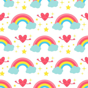 Magic rainbow clouds and hearts character