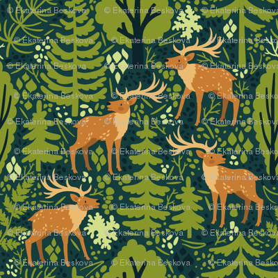 Deer in the forest. Medium scale