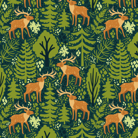 Deer in the forest. Medium scale fabric by magicforestory on Spoonflower - custom fabric