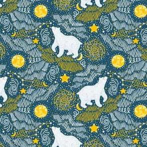 Polar bear with stars. Smal scale