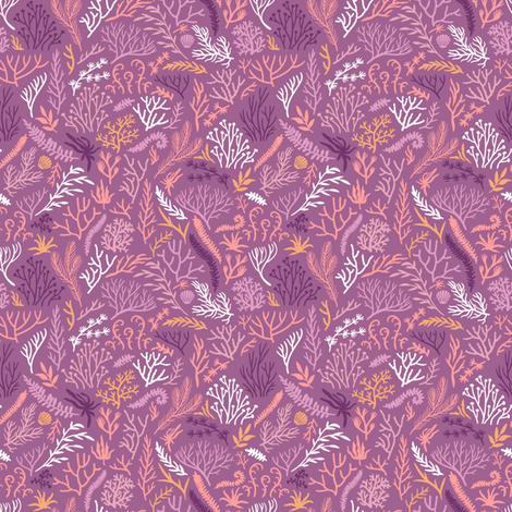 Seaweeds. Purple background. fabric by magicforestory on Spoonflower - custom fabric