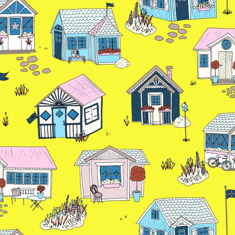 Swedish Summer Cottages fabric by emmakisstina on Spoonflower - custom fabric