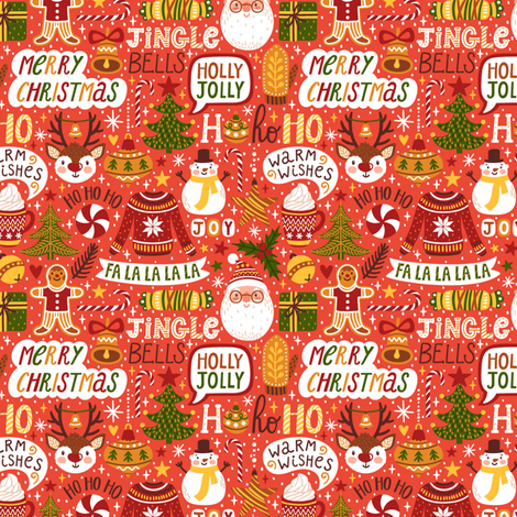 Merry Christmas red fabric by magicforestory on Spoonflower - custom fabric