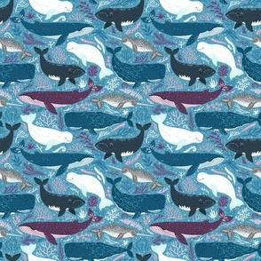Whales. Blue background.