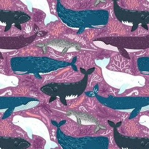 Whales. Purple background.