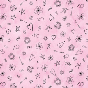 Hearts and Stars pattern pink watercolor background