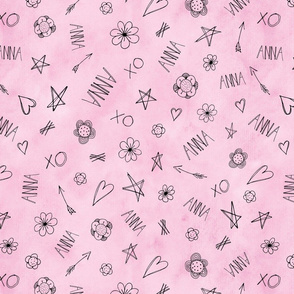 ANNA Hearts and Stars pattern on pink