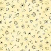 Hearts and Stars pattern on yellow watercolor background