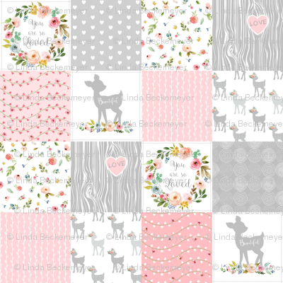 Deer Cheater Quilt Wholecloth – You Are So Loved – Gray Blush Peach Fawn Baby Girl Patchwork
