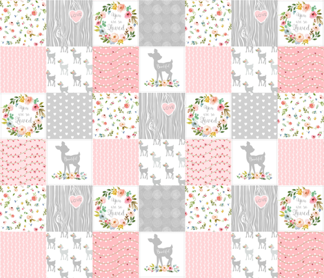Deer Cheater Quilt Wholecloth – You Are So Loved – Gray Blush Peach Fawn Baby Girl Patchwork  fabric by gingerlous on Spoonflower - custom fabric