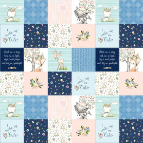 "3"" BLOCKS- Woodland Friends Nursery Patchwork Quilt - I Woke Up This Cute Wholecloth Deer Fox Raccoon Bunny (Navy Pink) GingerLous"