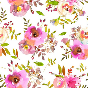 "14"" Spring Colors Hand drawn roses and flowers little bouquets Pattern of tender pink lush flowers on white"