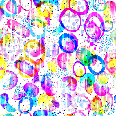 Sweet As Candy watercolor circles in neon on white