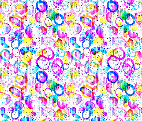Sweet As Candy watercolor circles in neon on white fabric by lolahstudio on Spoonflower - custom fabric