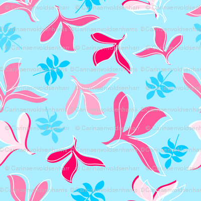 Scattered Leaves in Pink, Hot Pink and Aqua on Blue Background